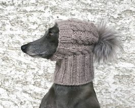 Cable Dog Hat with Faux Fur Pom Pom