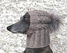 Dog Hat / Cable Dog Hat with a Faux Fur Pom Pom