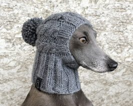 Cable Dog Hat with a Pom Pom